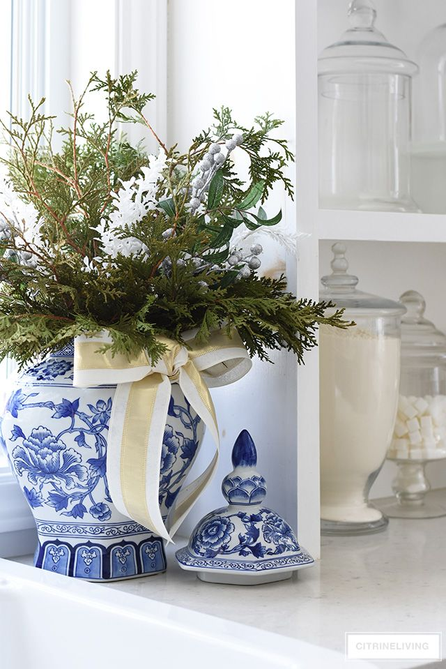 Christmas Kitchen Decorating Silver Gold Greenery Christmas Kitchen Holiday Greenery Holiday Decor