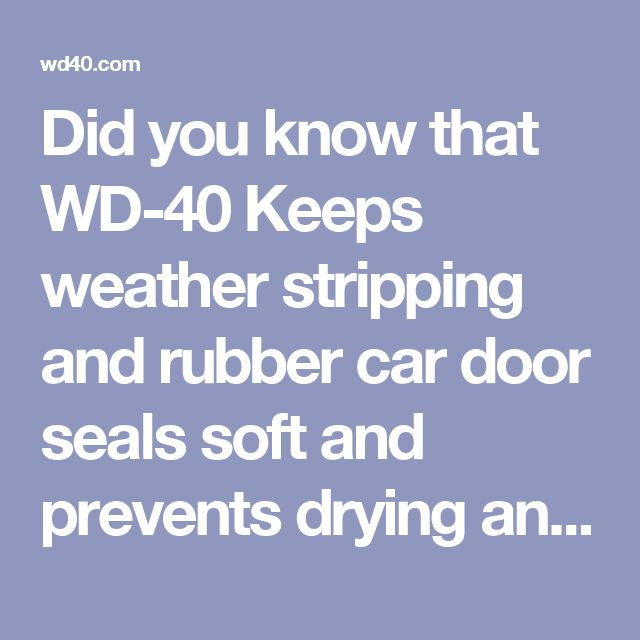 Did you know that WD-40 Keeps weather stripping and rubber car door seals soft and prevents drying and cracking?  http://wd40.com/uses-tips/automotive/keeps-weather-stripping-and-rubber-car-door-seals-soft-and-prevents-drying-and-cracking