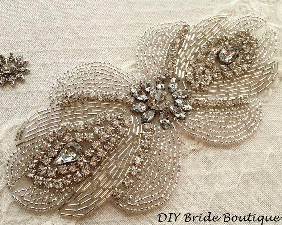 Rhinestone applique, ART DECO couture crystal applique, wedding applique, beaded…