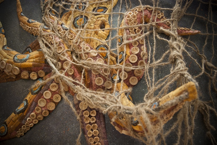 """""""Fear Through Ignorance""""    Recycled Dyed Wine Corks, Recycled Newspaper, Glue, Foam, Acrylic, Spray Paint, Buoy and Fishing Net on Aluminum. Approx. 36"""" x 48"""" x 12""""      #recycling #recycle #art #AndrewCorkeArt #NewAgeArt #Nature #Octopus #Wine #Winecorks #corks #Sea #Ocean #Life #Blue-ringedOctopus #Mixedmedia #3D #Recycledmaterial #Fineart #Awesome #Epic     All images © AndrewCorkeArt   www.AndrewCorke.Com"""