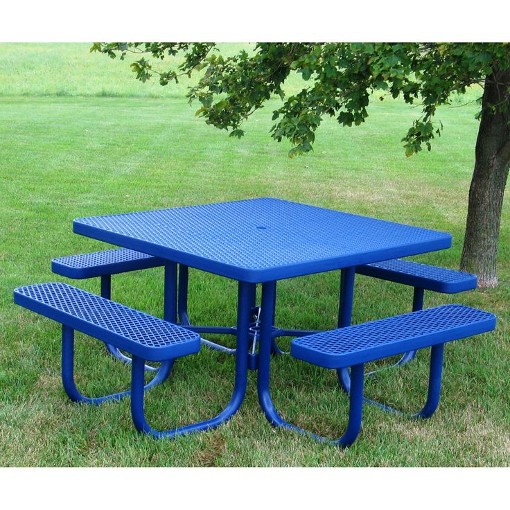 Outdoor Premier Polysteel Champion 77 in. Square Commercial Picnic Table with Attached Seats - 926-101-RED