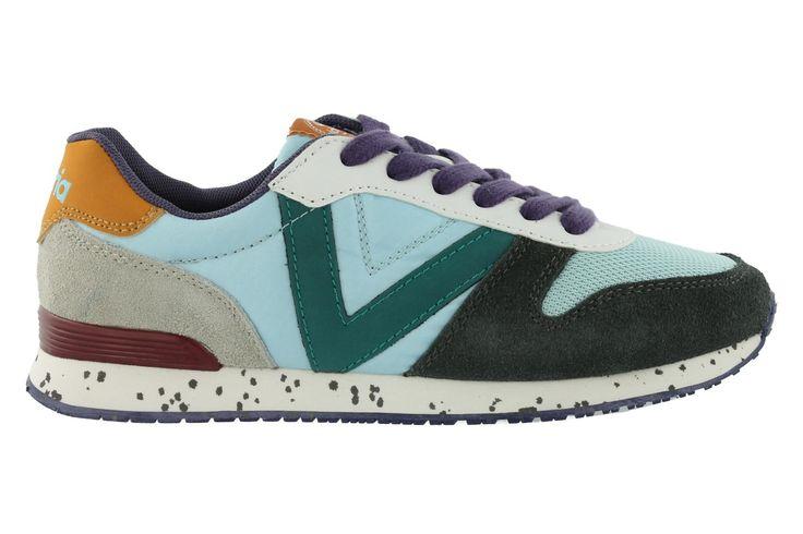 Chaussure jogger Victoria avec pièces colorées coordonnées de couleur contrastante. Pièces en cuir sur la pointe et le talon.