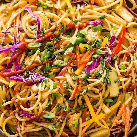 Don't head out to your local favorite Thai restaurant for Thai Peanut Sauce Noodles and Chicken. You can make the best Thai peanut sauce at home! . . . https://ohsweetbasil.com/thai-peanut-sauce-noodles-chicken-recipe/ . . . #Thai #peanutsauce #homemade #asiancuisine #noodles