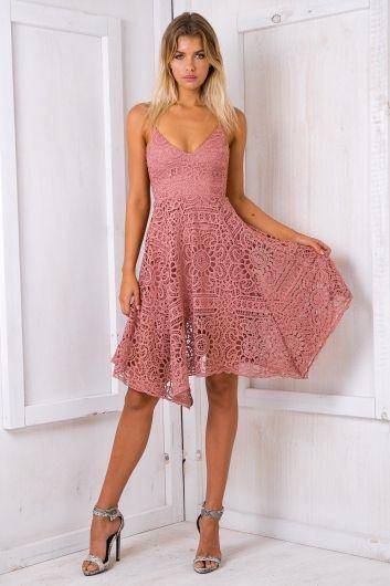 Dusty Pink Jennifer Lace Dress - $75.00 #stellyclothing #lace #dress #pink #spring #summer