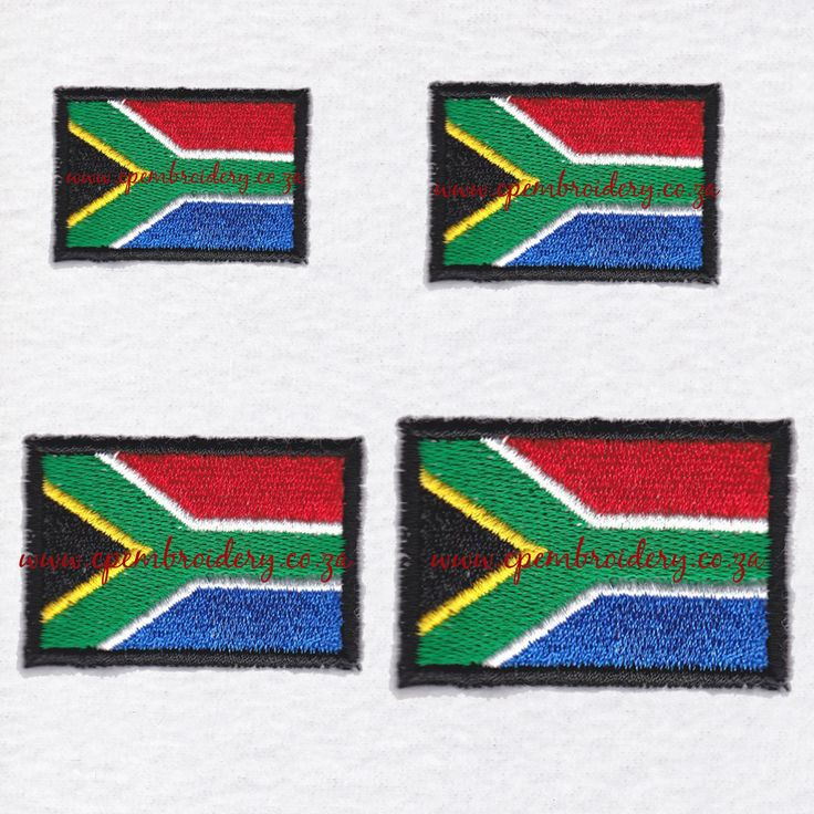 South African Flag Set of 4 Sizes by CPEmbroidery on Etsy