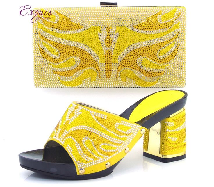 112.00$  Watch here - http://ali9by.worldwells.pw/go.php?t=32676106349 - yellow!Top sale African shoes and matching bags with rhinestones!Good quality Italian ladies shoes and bags for party CT16-11