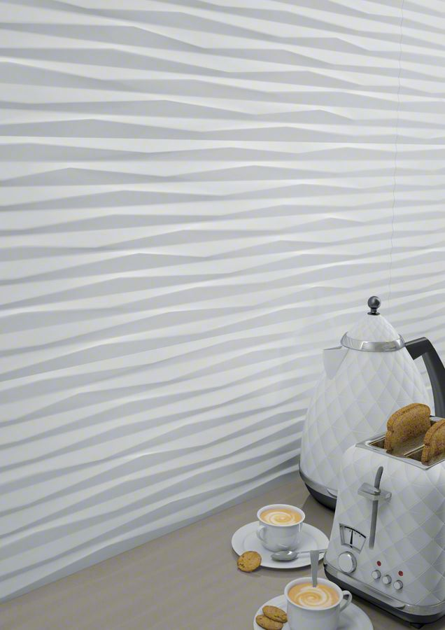 Wall tiles range Pamukkale in 32X99cm size, is a white body tile with texture like finish.