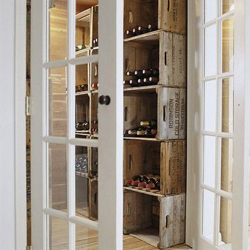 There is plenty of space in my basement for this. very simple and cost savvy. Michigan has plenty of wineries so getting a hold of a few wood cartons shouldnt be too hard....BHG wine storage in the basment