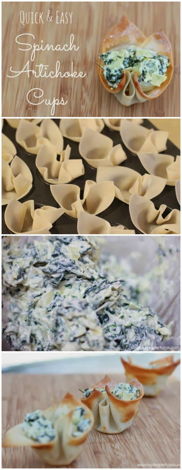 Simple spinach artichoke dip cups made from wonton wrappers, recipe from playpartypin.com