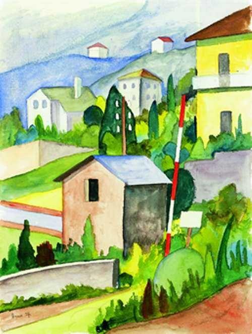 Tessiner Häuser - Aquarell 1927