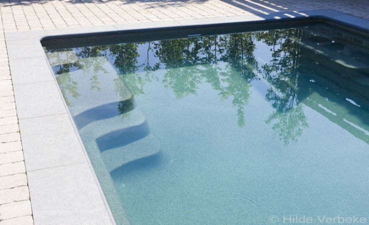 Durbuy Blauw zwembad weerkaatsing bomen zijdelingse trap helder water artdeau breaupools compass