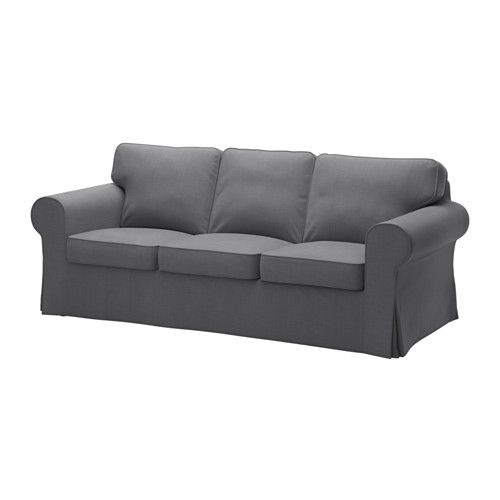 IKEA EKTORP Three-seat sofa Nordvalla dark grey Seat cushions filled with high resilience foam and polyester fibre wadding give comfortable support for...