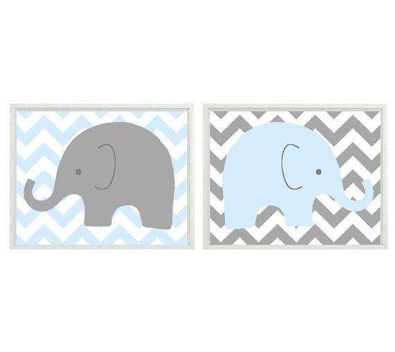 Elephant Nursery Wall Art Light Blue Gray Chveron Decor Children Kid Boy Baby Room Safari