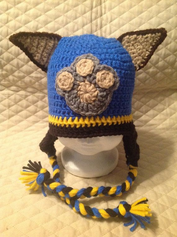 Marshall Paw Patrol Crochet Hat Pattern Free : Crochet Paw Patrol Chase inspired Character Hat Hats ...