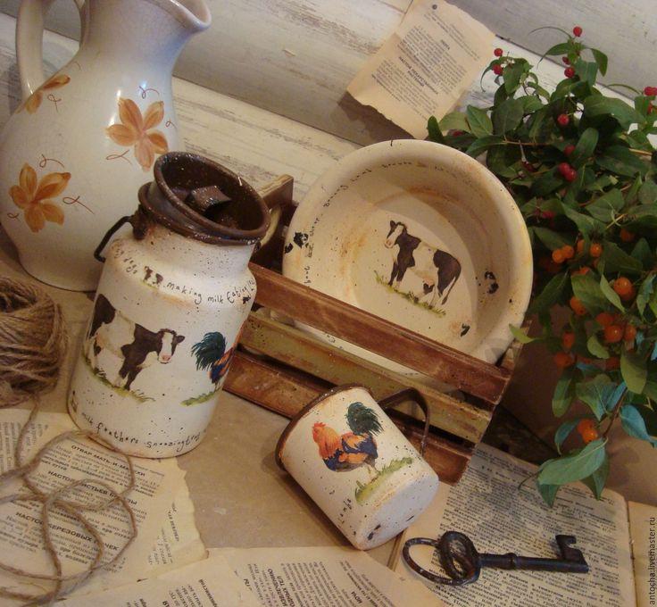 """Купить Набор """"Лавка Молочника"""" - комбинированный, дворик, сельский стиль, деревня, кухня, ретро, винтаж"""