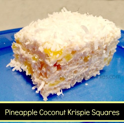 Love it? Pin it! (Just click the top right corner of the photo) Follow Spend With Pennies on Pinterest for more great recipes! My sister's friend Heather made these amazing Pineapple Coconut Krispie Squares and I just had to share the recipe! It is such...