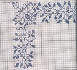 This pattern in blue frames a cushion panel. Very nice against taupe material.