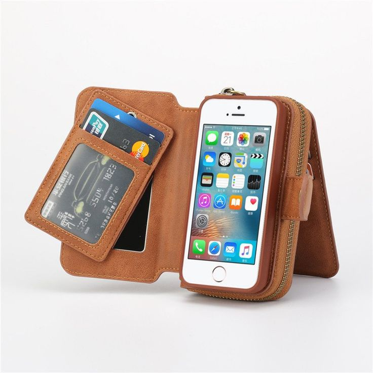 Luxurious Phone Case With Zipper Wallet & Strap Handle for iPhone 5 / 5s / SE / 6 / 6S / 6 Plus/ 6S Plus (Model: 110816A)