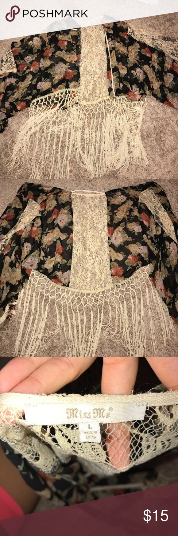 Miss Me Floral Kimono! Expensive brand/ great quality!! Size large but fits small/medium! Worn once. Perfect to pair with high wasted pants over a nice blouse. Love this piece! Miss Me Sweaters Cardigans