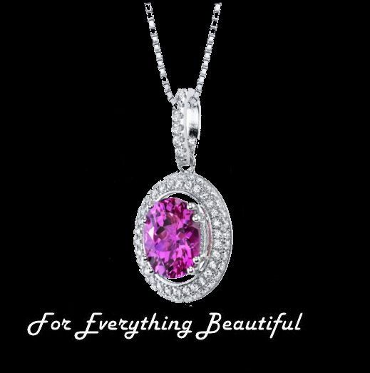Pink Sapphire Oval Cut Cubic Zirconia Circular Halo Sterling Silver Pendant