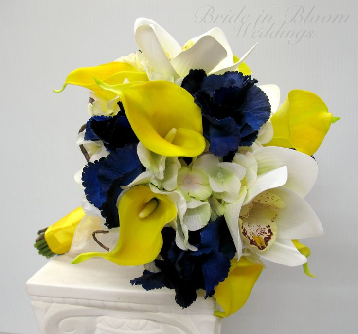 Wedding bouquet Yellow real touch calla lily white orchid navy bouquet by BrideinBloomWeddings on Etsy https://www.etsy.com/listing/182122569/wedding-bouquet-yellow-real-touch-calla