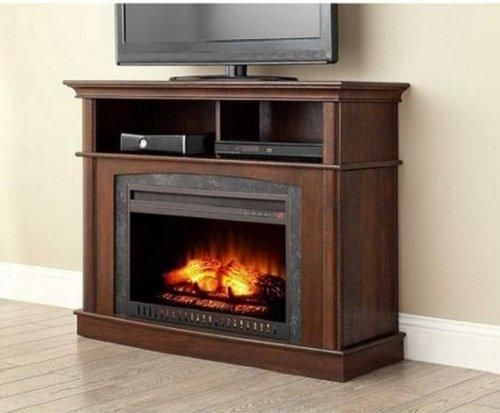 Electric Fireplace Media Entertainment Center with Side Storage Compartments