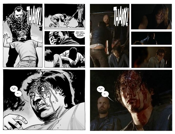 Side By Side Comparison Of Glenn's Death In The Walking Dead Comics -- I love when they stay true