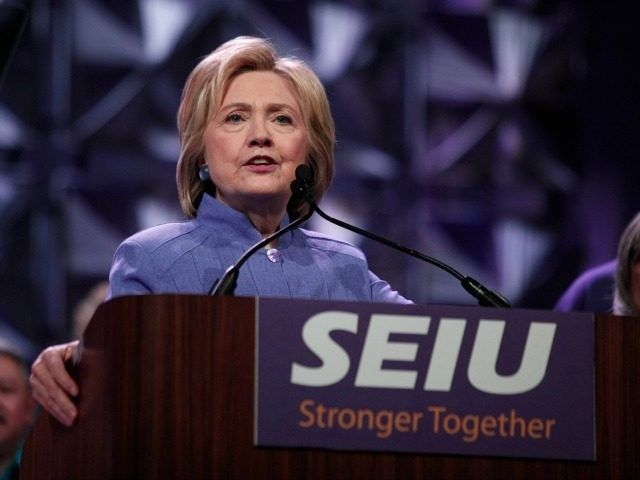 Democratic presidential candidate Hillary Clinton speaks at the Service Employees International Union (SEIU) 2016 International Convention at Cobo Center May 23, 2016 in Detroit, Michigan.
