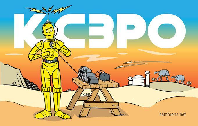 An original QSL inspired by Star Wars drawn by N2EST ...
