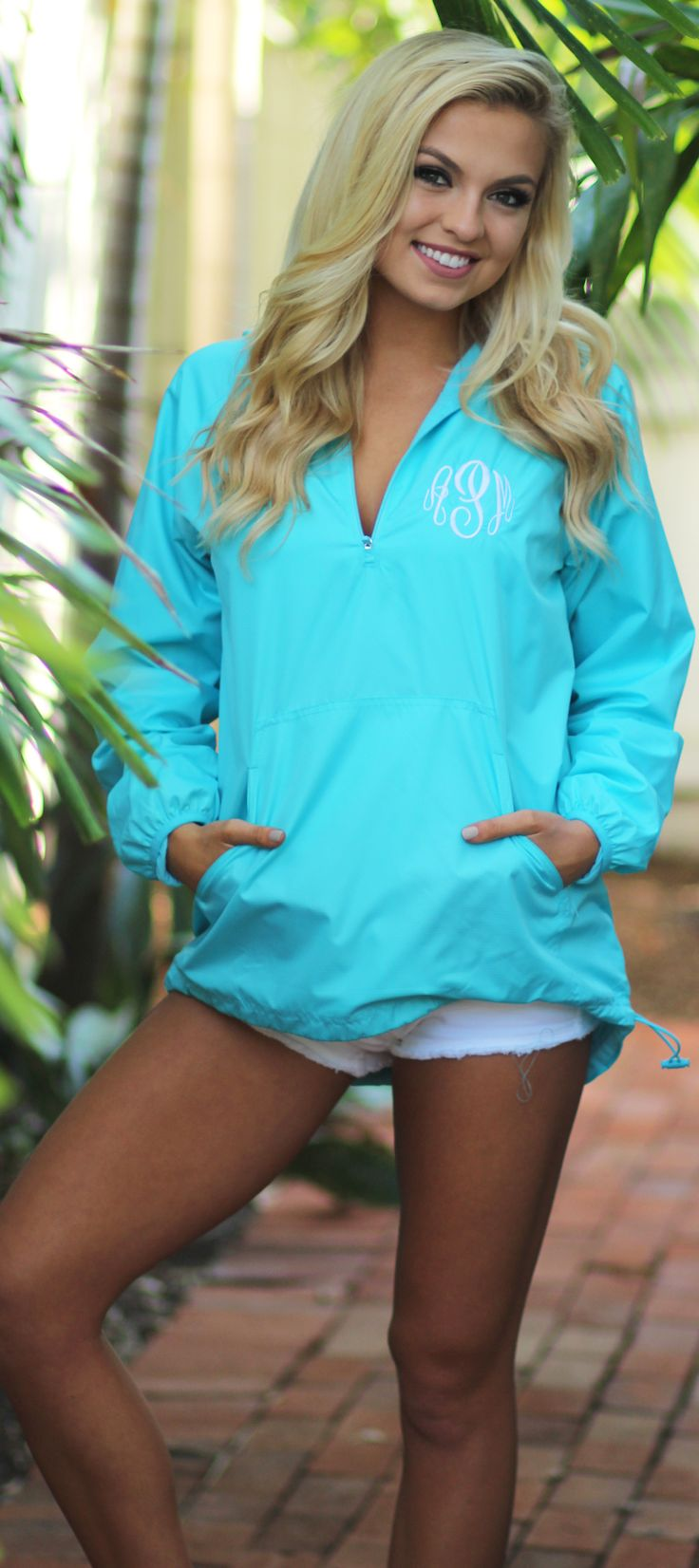 Give a pop of color to a rainy day with this cute Monogrammed Pullover Rain Jacket!