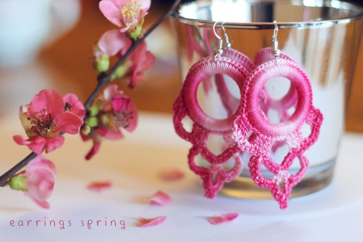 Orecchini uncinetto  earring rose