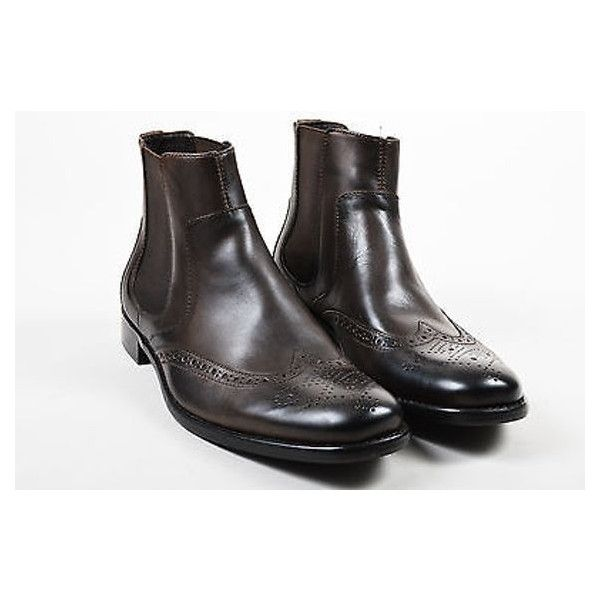 Pre-Owned Mens John Varvatos Nwob Brown Leather Ankle Brogues Dress... ($405) ❤ liked on Polyvore featuring men's fashion, men's shoes, men's boots, brown, mens slip on shoes, mens leather dress boots, mens slipon shoes, mens brogue boots and mens slip on boots