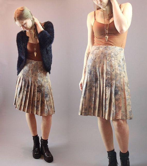 Vintage 60s Skirt Tan Floral Pleated Mid by BadassVintageRevival