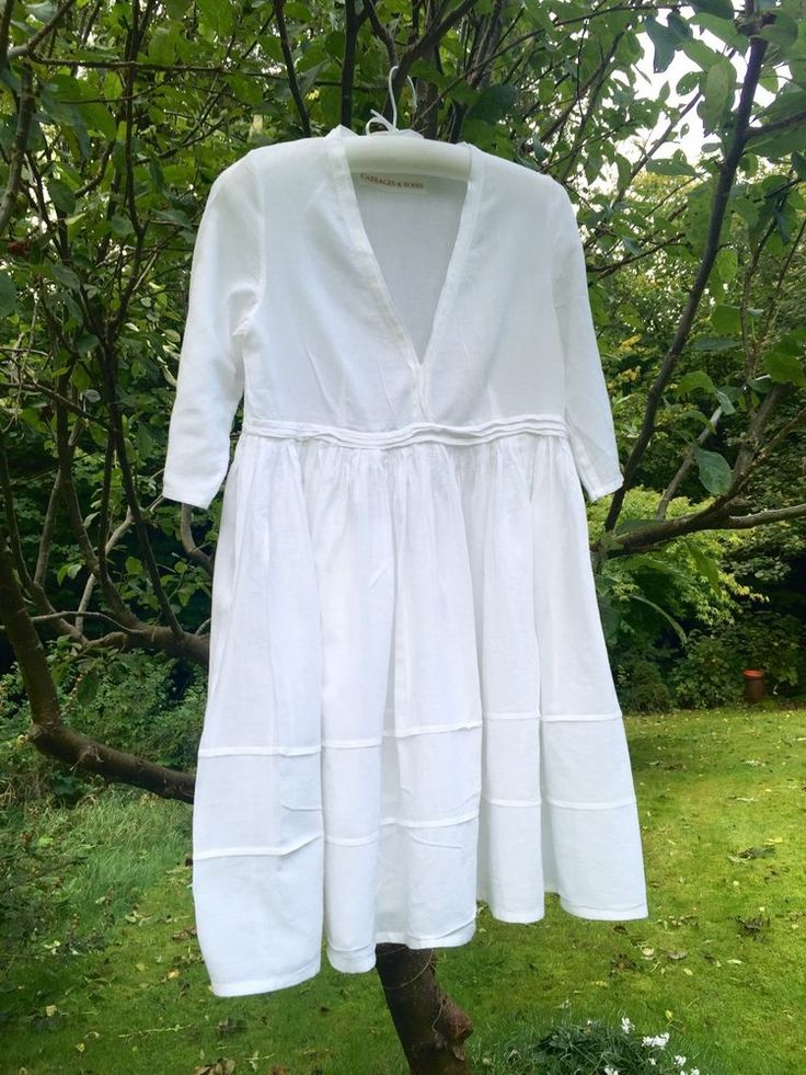 Cabbages And Roses White Pin Tuck Dress Cotton Layering 8 10 12