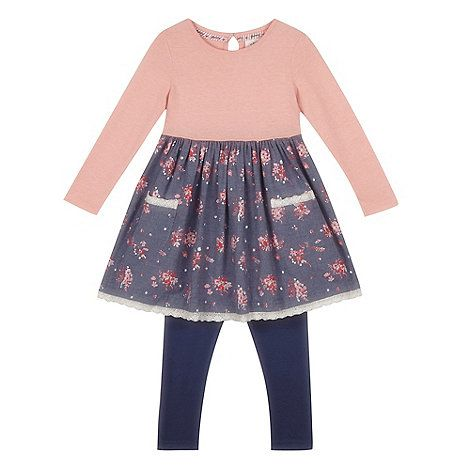 Mantaray Girls' pink floral dress and blue leggings set- | Debenhams