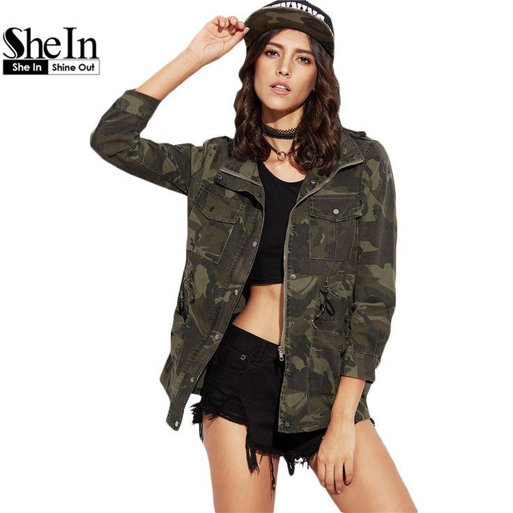 SheIn Woman Casual Coat For Autumn Ladies Green Camo Print Lapel Long Sleeve Drawstring Waist Pockets Zipper Jacket Outwear Coat