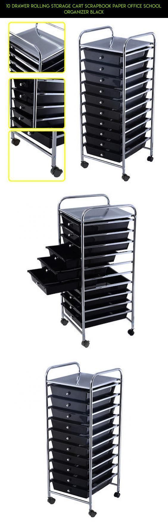 10 Drawer Rolling Storage Cart Scrapbook Paper Office School Organizer Black #drawer #products #tech #gadgets #camera #drone #kit #storage #fpv #plans #organizer #technology #racing #shopping #parts