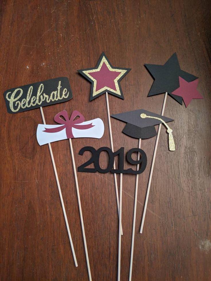 Graduation Party Decorations - Graduation Centerpieces - Graduation Centerpiece Sticks - Graduation Decor - Class of 2019 - 6 Pieces