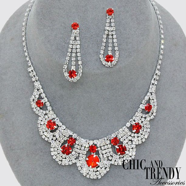 CRYSTAL ICE RED & CLEAR RHINESTONE CRYSTAL WEDDING FORMAL NECKLACE JEWELRY SET #Unbranded
