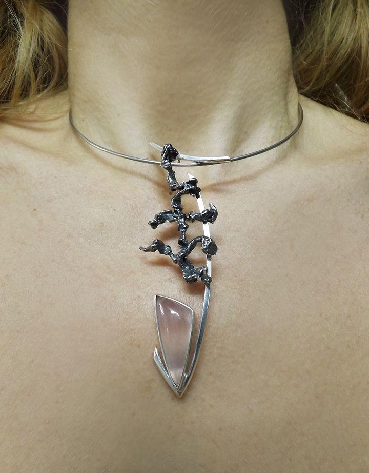 Fish- by Bon Ton Joyaux -sterling silver, rose quartz