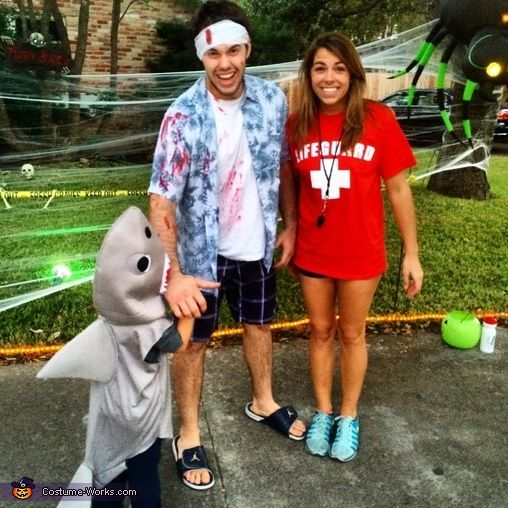 Kara: Family photo- I (Kara) am wearing a lifeguard costume, my son (Aiden) is wearing a shark costume, and dad (Stephen) is the sharks victim. The idea came from something my...