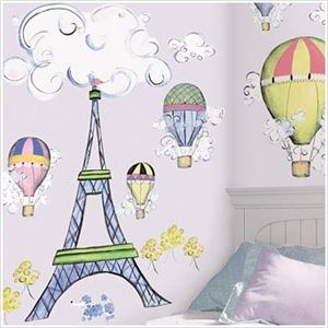 French-Theme Wall Stickers for Kids Rooms - Hot Air Balloons, Eiffel Tower Removable Wall Decals for Decorating Kid's Room or a Playroom