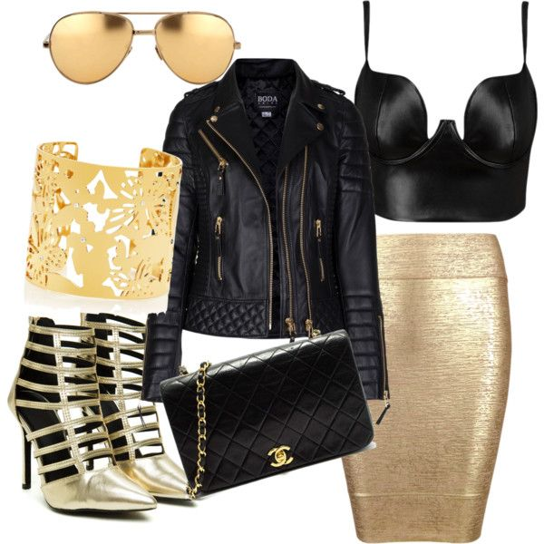 black and gold......♡♡♡ by shivangi-ss on Polyvore featuring polyvore fashion style Posh Girl Kate Spade Linda Farrow Chanel
