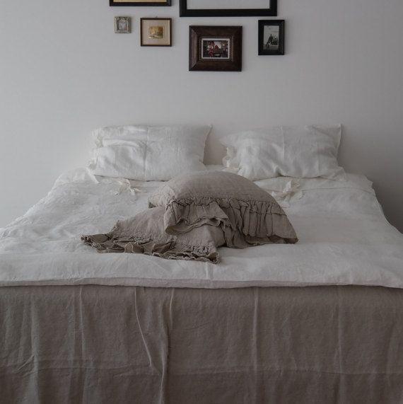 Постельное белье наволочка с оборками стандарт , дама , король , евро шам , подушка тела Размер. Подушки кровати промывают & размягченного серого натурального льна.