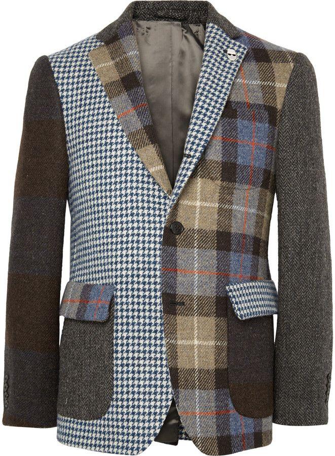 Wooster + Lardini Slim-Fit Patchwork Wool-Tweed Blazer
