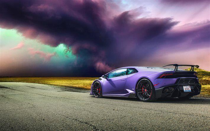 Lataa kuva myrsky, Lamborghini Huracan, tie, superautot, violetti Huracan, Lamborghini