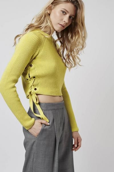 If you do a jumper this Spring, make it this one. Topshop Eyelet Tie-Side Crop xx