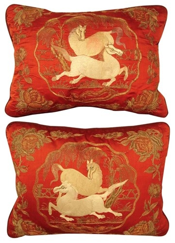 18th Century Chinese Silk Embroidery Pillows
