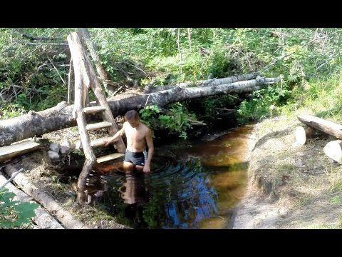 Запруда на ручье – рукотворный водоем и самодельная лестница - YouTube