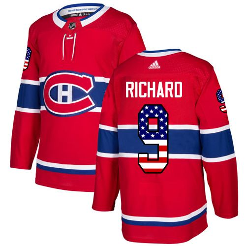 Adidas Canadiens  9 Maurice Richard Red Home Authentic USA Flag Stitched  NHL Jersey 94dd42560